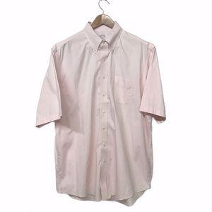 BROOKS BROTHERS 17.5 - 6/7 Pink Short-sleeve Shirt